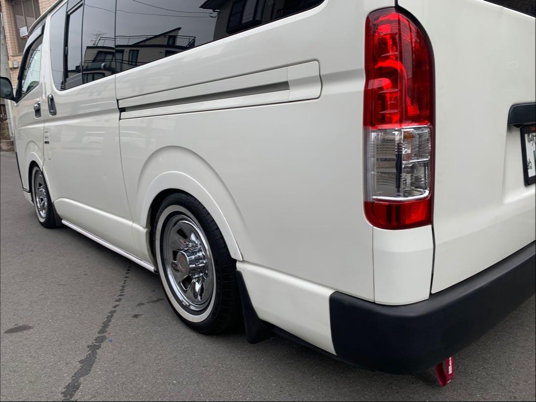 ハイエース200系S-GL足まわり、プチカスタム、ヘッドライト黄ばみ除去、オイル交換、他、内装、外装パーツ取り付け全般 足回りローダウン調整の写真